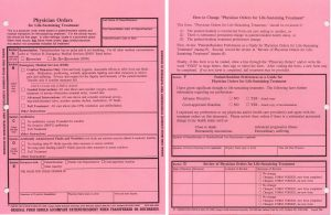 1995 version of the Medical Treatment Coversheet form front and back