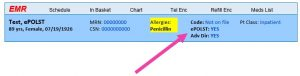 Screenshot of example patient's electronic medical record showing the header section in Epic listing