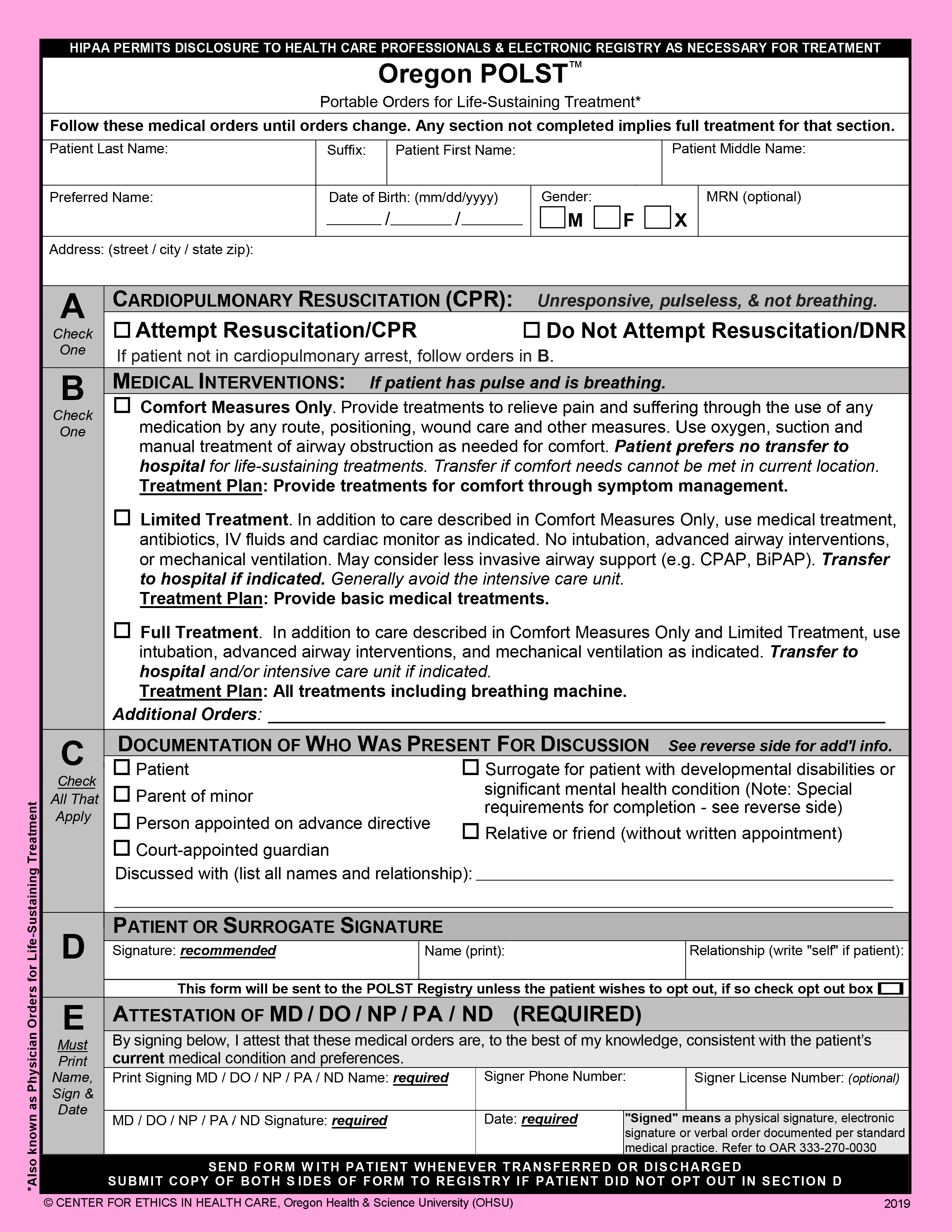 2019 Oregon POLST form front page only